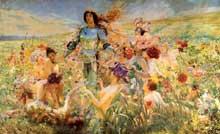 Georges Antoine Rochegrosse: le chevalier aux fleurs. 1884. Huile sur toile, 232 x 372cm. Paris, Musée d'Orsay
