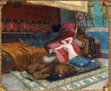 Georges Antoine Rochegrosse: l'esclave et le lion. Huile sur toile
