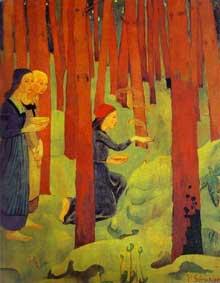Paul Sérusier: L'Incantation ou Le Bois Sacré. 1891-1892. Huile sur toile, 91,5 x 72 cm. Quimper, Musée des Beaux Arts.