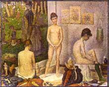 Georges Seurat: les Poseuses. 1888. Huile sur toile, 39,4 x 48,7 cm. Philadelphie, collection H.P. Mcllhenny