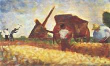 Georges Seurat: Les terrassiers. 1883. Huile sur toile, 14,6 x 24 cm. Washington, National Gallery.