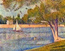Georges Seurat: la Seine, à la Grande Jatte au printemps. 1888. Huile sur toile, 65 x 82 cm. Bruxelles, Musées Royaux des Beaux Arts