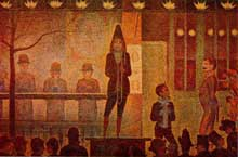 Georges Seurat: la Parade du cirque. 1887-1888. Huile sur toile, 100 x 150 cm. New York, Metropolitan Museum