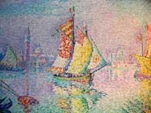 Paul Signac: la voile jaune, Venise. 1904. Huile sur toile. Musée de Besançon