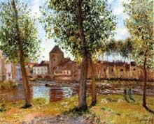 Alfred Sisley: Peupliers à Moret-sur-Loing, après-midi d'août. 1888. Collection Privé