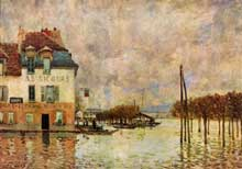 Alfred Sisley : Alfred Sisley : l'inondation à Port Marly. 1876. Huile sur toile, 60 x 81 cm. Paris, Musée d'Orsay
