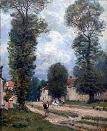 Alfred Sisley: la route de Versailles. 1875. Huile sur toile, 38 cm x 47 cm. Paris, Musée d'Orsay