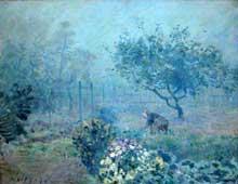 Alfred Sisley: Le brouillard à Voisins. 1874. Huile sur toile, 65 cm x 51 cm. Paris, Musée d'Orsay
