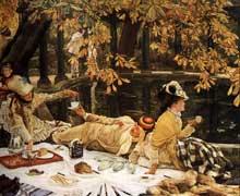 James Tissot: le pique-nique. 1876. Huile sur toile, 76,2 x 99,4 cm. Londres, Tate Gallery