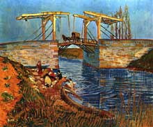 Vincent Van Gogh: le pont de Langlois. Mars 1888. Huile sur toile, 54 x 65 cm. Otterlo, Rijksmuseum Kröller-Müller