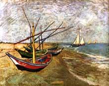 Vincent Van Gogh: barques sur la plage. Juin 1888. Huile sur toile, 64 x 81 cm. Amsterdam, Rijksmuseum Vincent van Gogh
