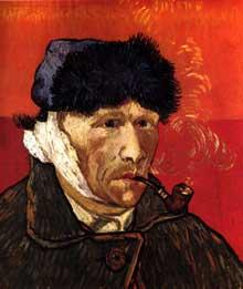 Vincent Van Gogh: autoportrait à la pipe. Janvier 1889. Huile sur toile, 51 x 45 cm. Chicago, collection Block