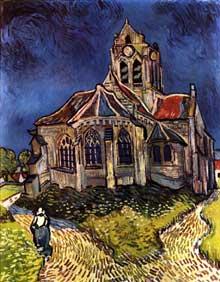 Vincent Van Gogh: l'église d'Auvers sur Oise. Première semaine de juin 1890. Huile sur toile,94 x 74 cm. Paris, musée d'Orsay