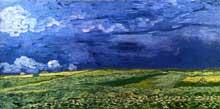 Vincent Van Gogh: champ sous un ciel d'orage. Juillet 1890. Huile sur toile, 50 x 100 cm. Amsterdam, Rijksmuseum Vincent van Gogh