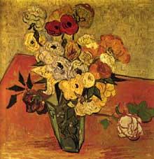 Vincent Van Gogh: roses et anémones. Juin 1890. Huile sur toile, 51 x 51 cm. Paris, musée d'Orsay