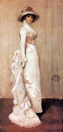 James Whistler : Nocturne en Rose et Gris : portrait de Lady Meux. 1881-1882. Huile sur toile, 193 x 93 cm. New York, Frick Collection