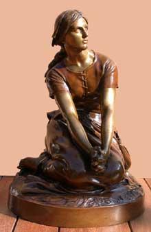 Henri Michel Antoine Chapu: Jeanne d'Arc à Domrémy. Bronze de fonte  Barbedienne