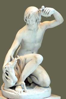 Antoine Laurent Dantan: jeune baigneur jouant avec son chien. 1833. Marbre. Paris, Musée du Louvre
