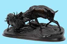 Pierre Jules Mène: combat de cerfs. Bronze, 56 cm