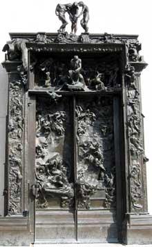 Auguste Rodin: la Porte de l'enfer. En 1880 l'état Français commande à Rodin la «La Porte de l'enfer» inspirée par La Divine Comédie de Dante et des Fleurs du mal de Charles Baudelaire pour le futur Musée des Arts décoratifs du Musée du Louvre. C'est son œuvre la plus monumentale de 7 m de haut et 8 tonnes, qui ne sera jamais livrée ni fondue en bronze de son vivant. Fondue en bronze en 1926 elle est exposée actuellement au musée Rodin