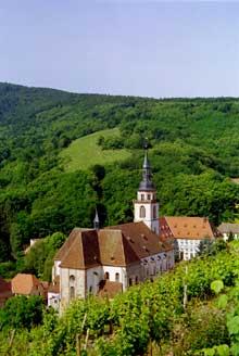 Andlau: l'abbatiale vue de l'Altenberg