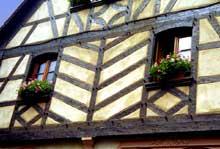 Kintzheim, maison vigneronne: l'arbre de vie, motif symbolique rare dans le vignoble, que l'on retrouve surtout dans le Sundgau. (La maison alsacienne)