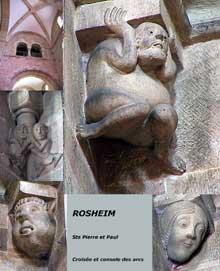 Rosheim: saints Pierre et Paul: la croisée du transept et ses culots sculptés