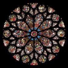 Sélestat, Saint Georges: Grande rose du bras sud du transept, de 1330. Elle développe le Décalogue
