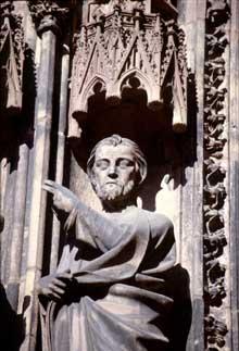 Strasbourg, cathédrale: détail du portail sud de la façade occidentale, dit portail des Vierges sages et des vierges folles: l'Epoux divin