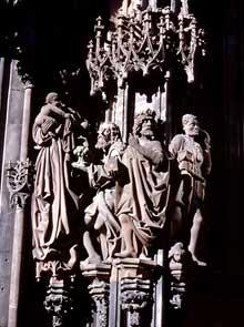 Strasbourg, cathédrale: portail nord de Saint Laurent: l'Adoration des Mages