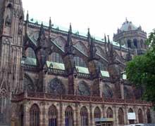 Strasbourg, cathédrale: le flanc sud et la galerie du XVIIè