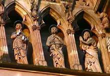Strasbourg, cathédrale: la galerie des apôtres de la façade, détail