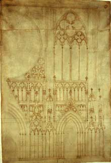 Strasbourg, cathédrale: le «planA». Dessin, Musée de l'œuvre Notre Dame