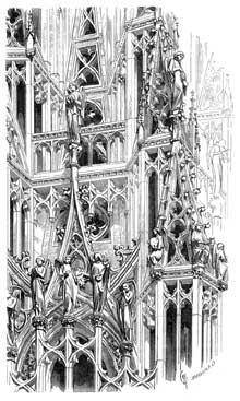 Strasbourg, cathédrale: la flèche. Dessin extrait du «dictionnaire raisonné de l'architecture» de Viollet le Duc