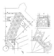Strasbourg, cathédrale: la flèche. Plan extrait du «dictionnaire raisonné de l'architecture» de Viollet le Duc