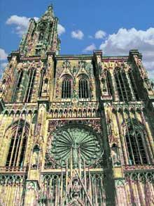 Strasbourg, cathédrale Notre Dame: l'élévation de la façade occidentale
