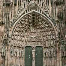 Strasbourg, cathédrale Notre Dame: le portail central de la façade occidentale