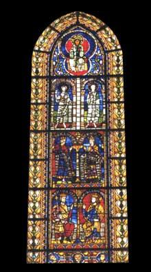 Strasbourg, cathédrale: vitrail du croisillon nord représentant le cycle de la généalogie du Christ. 1230-1240