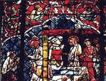 Strasbourg, cathédrale Notre Dame: bas-côté sud, première verrière à partir de la chapelle sainte Catherine: la guérison d'un infirme et la résurrection de la fille de Jaïre