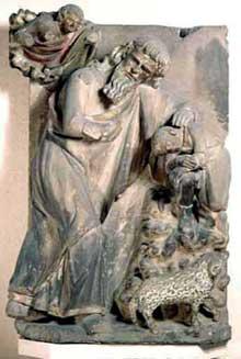 Strasbourg, cathédrale Notre Dame: le sacrifice d'Abraham; revers du jubé de la cathédrale. 3è quart du XIIIè. Atelier du jubé