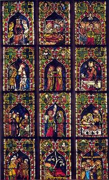 Strasbourg, saint Guillaume: verrière de la vie du Christ. Premier quart du XIVè