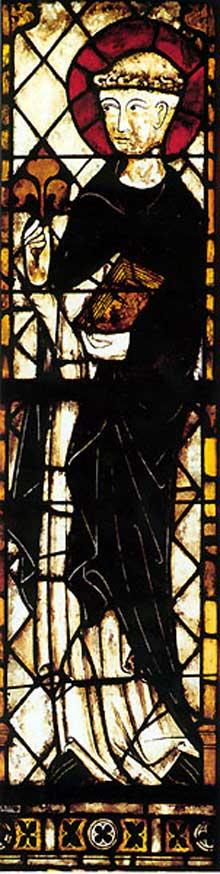 Colmar, les Dominicains: saint Dominique, vitrail du chœur. Vers 1300, influence française
