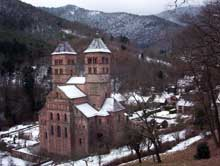L'abbaye de Murbach sous la neige