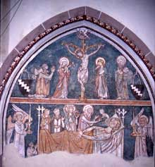 Soultz: fresque de la crucifixion de l'église saint Maurice