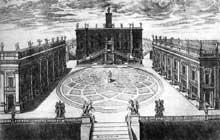 Étienne Du Pérac: Rome, piazza del Campidoglio, 1568. Eau forte