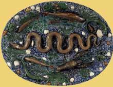 Bernard Palissy: Plat ovale. 1560. Céramique vernissée. Paris, musée du Louvre