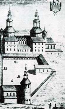 Saint Riquier en Somme: dessin de l'abbaye telle qu'elle se présentait au XVIIè
