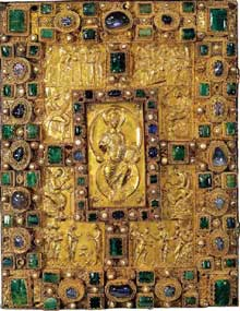 Charles le Chauve. Codex Aureus d'Emmeram, vers 870. Scènes de la vie du Christ réalisées par Arnulf pour Emmeram. Couverture. Munich, Bayerische Staatsbibliothe