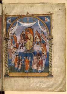 Première Bible de Charles le Chauve dite aussi «Bible de Vivien»: Présentation de la Bible à Charles le Chauve par trois moines du scriptorium de Saint-Martin de Tours. Folio 423. Ecole de Tours. 843-851