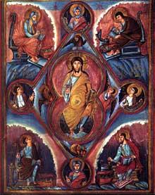 Première Bible de Charles le Chauve: le Christ en Majesté avec les quatre évangélistes. Folio 329v. Ecole de Tours. 843-851